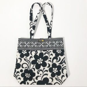 Vera Bradley Quilted Black & White Floral Tote